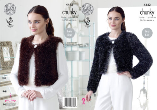 King Cole Femme chunky knitting pattern Tinsel v /& col rond cardigans 4442