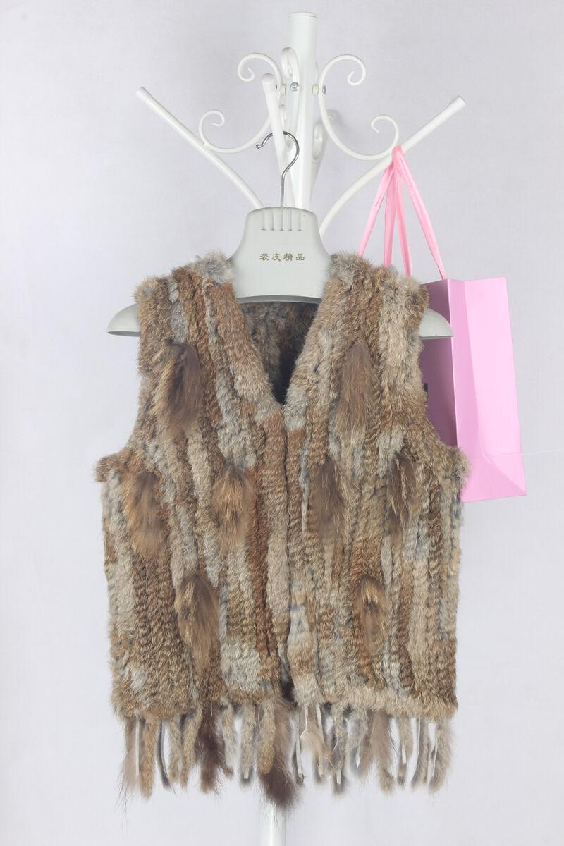 Lady New Genuine Knit Rabbit Fur Vest Real Rabbit Fur Waistcoat With Tassels