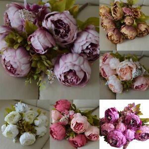 Image Is Loading 13 Head Artificial Silk Flowers Large European Peony