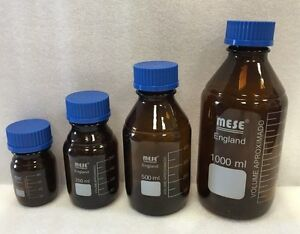 MESE Reagent Bottle 100, 250, 500, & 1000ml - Amber Glass - with Blue Screw Cap