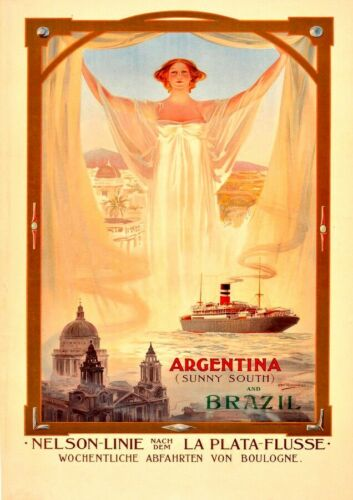 Argentina and Brazil Steam CruiseVintage PosterA1 A2 A3