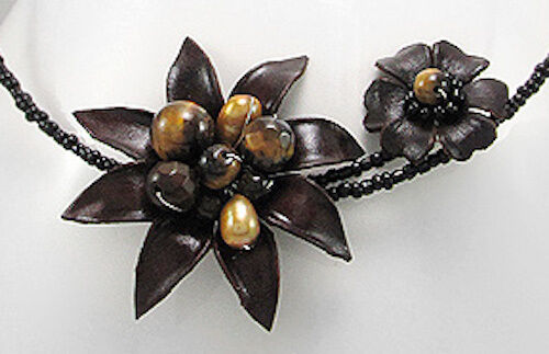 BOLD BEAUTY Brown Leather EXOTIC Flower w Pearl & Tiger Eye Bead Choker