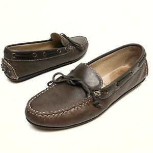 leather brown moccasins boat-shoes Sz