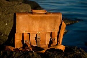 Handmade-Goat-Leather-Vintage-Brown-Messenger-Bag-Shoulder-Laptop-Bag-Briefcase