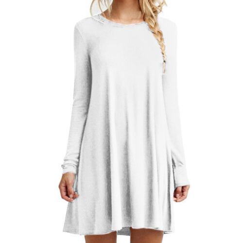 Womens Plain Jersey Flared Long Sleeve Ladies Party Mini Swing Skater Dress 8-24