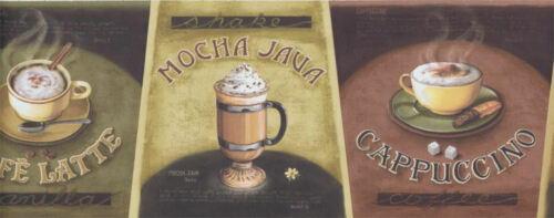 Hot Coffee Drinks Wallpaper Border  LA036101B