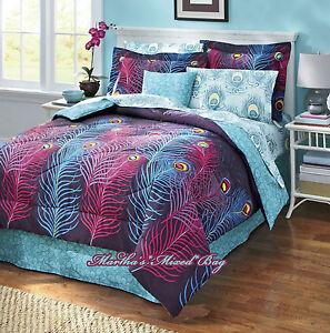 Image Is Loading Pea 039 Feathers Comforter Set Purple Blue