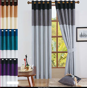 RING TOP FAUX SILK EYELET CURTAINS BLACK GREY SILVER BROWN GOLD BLUE ...