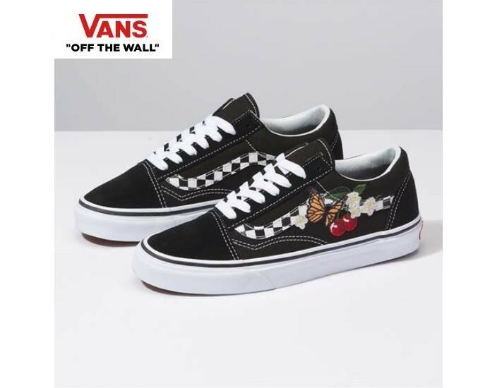VANS Checker Floral Old Skool Street Street Street Style Fashion Sneakers,shoes Black Women's eead72