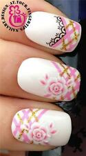 NAIL ART WATER TRANSFERS STICKERS DECALS PINK FLORAL ROSE GOLD GLITTER LACE #20
