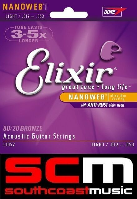 ELIXIR BRONZE ACOUSTIC GUITAR STRINGS LIGHT 12-53 11052 80/20 BRONZE STRING SET