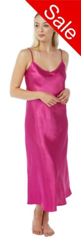 Ladies Long Full Length Satin Chemise Nightdress Nighty Nightshirt Size8 10 SALE