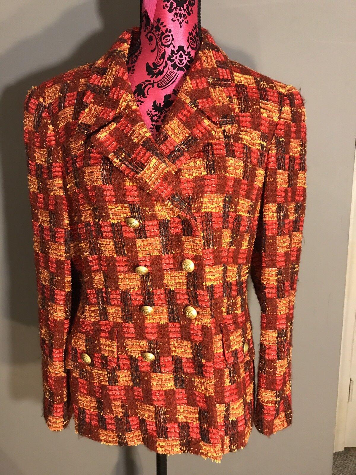 Unique Escada Red Plaid Wool Blazer Size 40 (US 8)