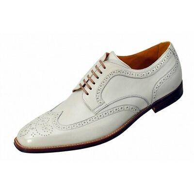 Handmade Mens Fashion Wingtip White Leather Formal Shoes, Men Dress shoes