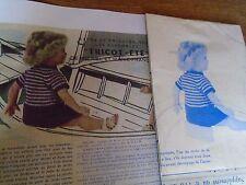 """T3 PATRON POUPEE """"MARIE FRANCOISE"""" M & TRAVAUX"""" PULL ET JUPE AU TRICOT 1965"""
