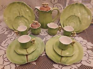 Figural-Butterfly-Handles15-Pc-Tea-Set-Teapot-Cups-Saucers-Plates-AMM-Tasteseter