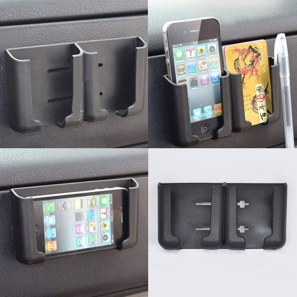 universal car interior phone pen organizer storage bag box holder black cradle ebay. Black Bedroom Furniture Sets. Home Design Ideas