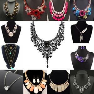 Fashion-Women-Crystal-Choker-Chunky-Statement-Chain-Bib-Necklace-Pendant-Jewelry