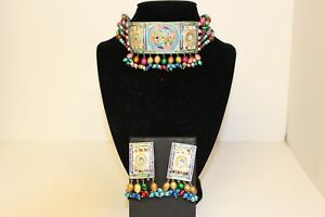 Real-Silver-with-Multicoloured-Beads-Statement-Choker-Necklace-with-Earrings