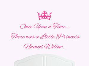 Una volta Principessa Willow Muro Adesivo Decalcomania Camera Letto Arte Girl / Baby  </span>