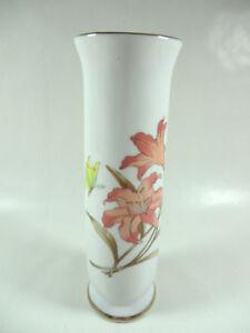 Vintage-8-034-Made-in-Japan-Ceramic-Bud-Vase-Floral-Tiger-Lily-Gold-Tone-Trim