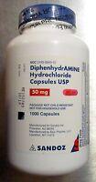Sandoz Diphenhydramine 50mg (gen For Benadryl) Allergy Relief 1000 Caps