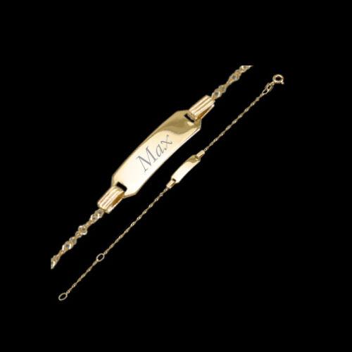 Kinder Taufe Echt Gold 333 Armband Singapur Namen und Datum Gravur Armkette 16cm