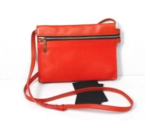 Image is loading VICTORIA-BECKHAM-Orange-Zip-Pouch-Leather-Crossbody-Bag dc02a27adb