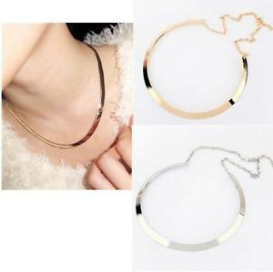 TIA-Retro-Fashion-Curved-Mirrored-Metal-Collar-Bib-Choker-Necklace-Gold-Silver