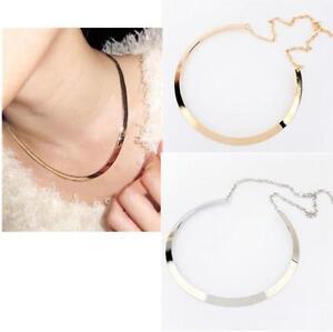 TIA-Retro-Fashion-Curved-Mirrored-Metal-Collar-Bib-Choker-Necklace-Gold-Silver