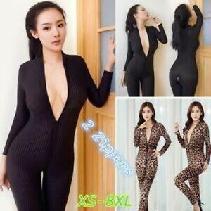 Sexy-Leopard-Dame-Black-Striped-Sheer-Bodysuit-Smooth-Fiber-2-Zipper-Plus-Size