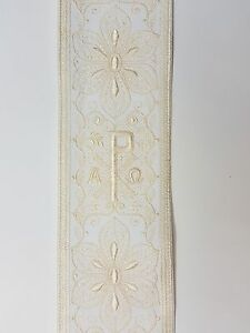 Vintage-Religioso-A-amp-o-Chi-Rho-Diseno-Crema-Encendido-Blanco-Banda-8-3cm-C145