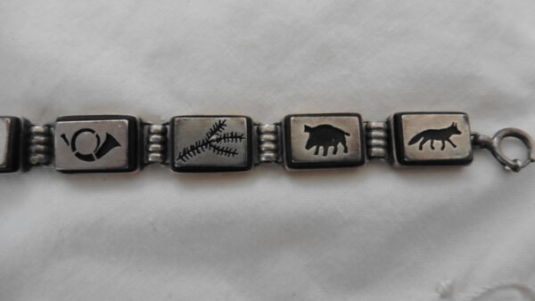 Armband, Holz, Silber, Jäger, Tracht, Silber Jade Weiß