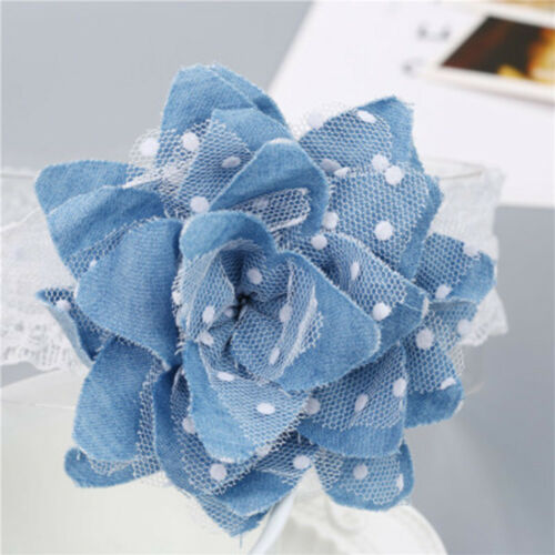 Creative Baby Girl Flower Shape Headband Infants Elastic Jean Cloth Dot Hairband