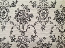 FRENCH COUNTRY MEDALLION CAMEO BLACK TOILE on CREAMY WHITE KING QUILT SET 3PCS