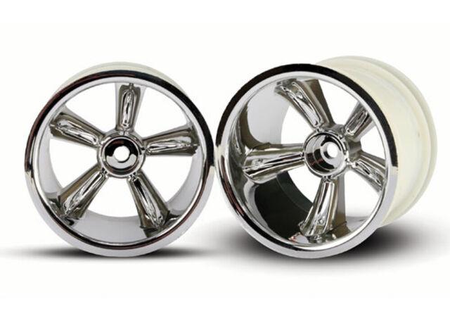 2 Traxxas Front Wheel Chrome Nitro Rustler TRA4174