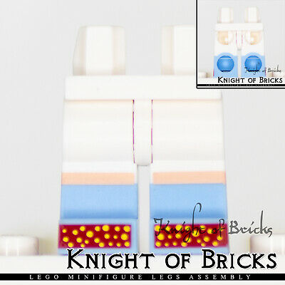 Lego New White Minifig Pants Hips and Legs w// Bright Light Blue Boots Red Shoes