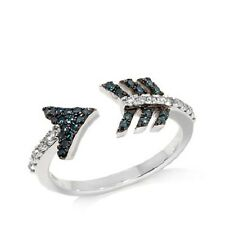 "Rarities Carol Brodie .3ct Blue and White Diamond Sterling Silver ""Arrow"" Ring 7"