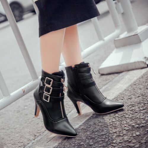 Womens Ankle Boots Buckle Side Zip Block Round Toe Heels Leather Shoes Plus Size