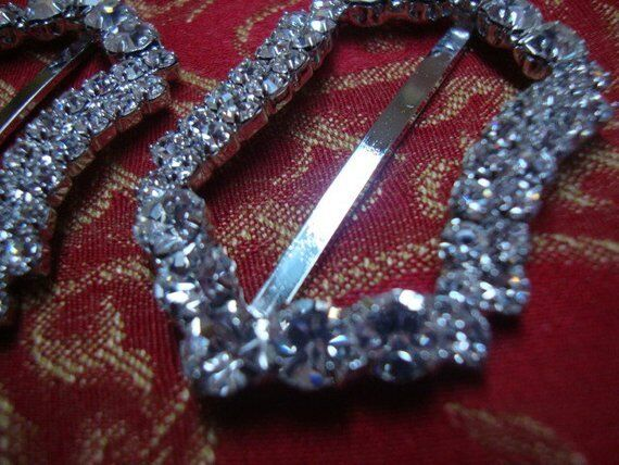 1 Austrian Crystal Silver Tone Metal Buckle Jewelry Holiday Accessories Vintage