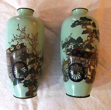 Paire vases ovoïdes Japon émaux cloisonnés Meiji - 25 cm - décor pousse-pousse