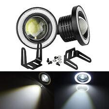 "2x 3.5"" COB LED Fog Light Projector Car Lamp White Angel Eye Halo Ring DRL Bulb"