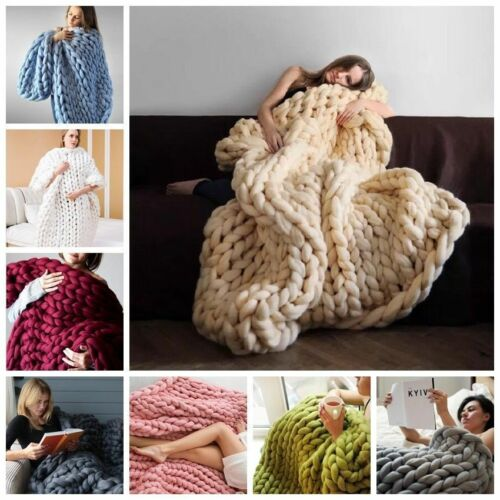 Bed Blankets Handmade Chunky Knitted Blanket New Comfy Wool Thick Line Yarn  Throw Home Decor1 Home, Furniture & DIY tallergrafico.com.uy