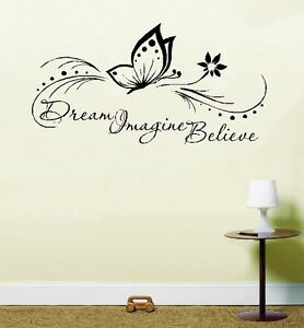 Life Quote Wall Stickers Captivating Dream Imagine Believe Butterfly Inspirational Life Quote Wall Art