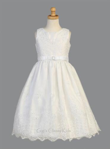 Flower Girls White First Communion Dress Embroidered Organza Easter Wedding