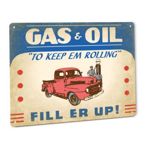Gas & Oil Metal Sign Service Station Truck Vintage Pump Gasoline Company Decor