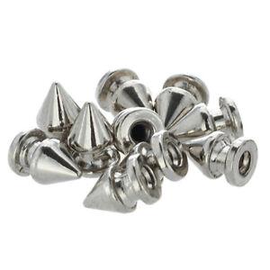 1X-10x-Kupfer-8-12mm-Silber-Killernieten-Spitz-Nieten-Punk-Ziernieten-Schraub-DA