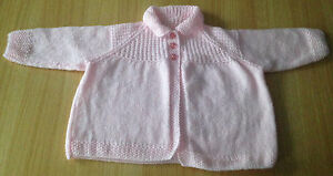 BRAND-NEW-HAND-KNITTED-PINK-BABY-JACKET-CARDIGAN-TO-FIT-3-6-MONTHS