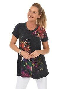 Jess-amp-Jane-Floral-Poems-Black-Scoop-Neck-Short-Sleeve-A-Line-Tunic-Size-Large
