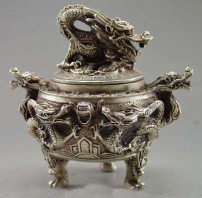 Oriental Old Tibet Silver statue Carved Dragon Incense Burner